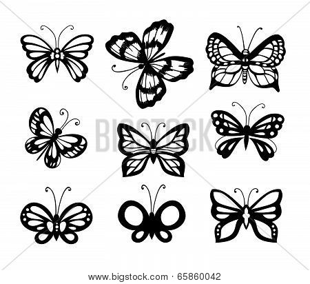 Set Of 9 Butterflies