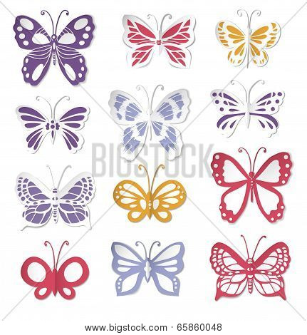 Set Of 12 Paper Butterflies