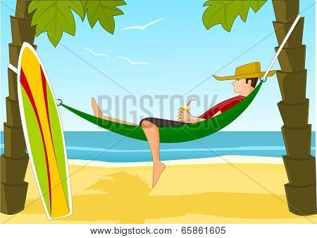 Young surfer on a beach