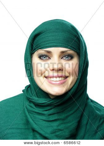 Blue-eyed Girl In A Green Linen Cape