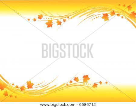 Illustration of horizontal yellow autumn frame