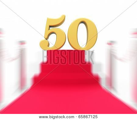 Golden Fifty On Red Carpet Displays Fiftieth Cinema Anniversary Or Remembrance