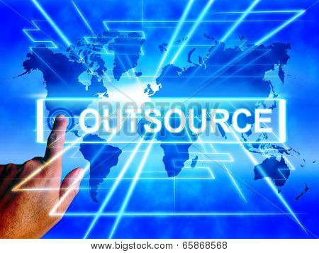 Outsource Map Displays Worldwide Subcontracting Or Outsourcing