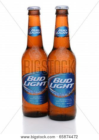 Two Bud Light Bottles With Condensation