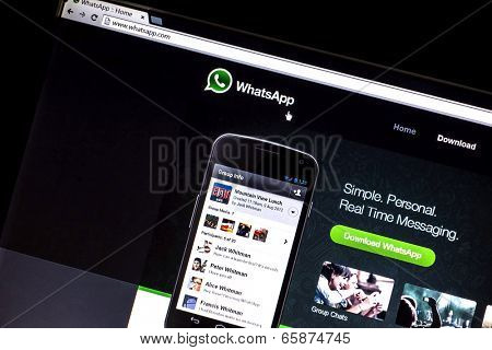 OSTERSUND, SWEDEN - MAY  30, 2014: Photo of WhatsApp webpage on a monitor screen. WhatsApp Messenger is a proprietary, cross-platform instant messaging subscription service for smartphones.