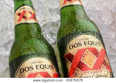 Two Dos Equis Bottles On Ice