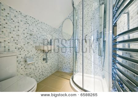 modern luxury en-suite bathroom with a shower, wc an mosaic tiles