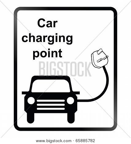 Monochrome electric car charging point public information sign isolated on white background poster