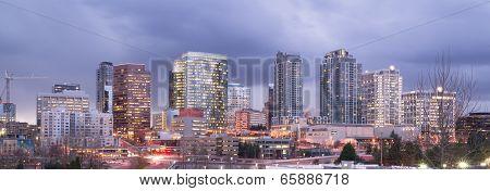 Bright Lights City Skyline Downtown Bellevue Washington United States