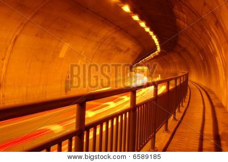 Tunnel with Traffic Motion Blur