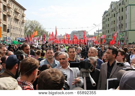 Garry Kasparov at the opposition rally