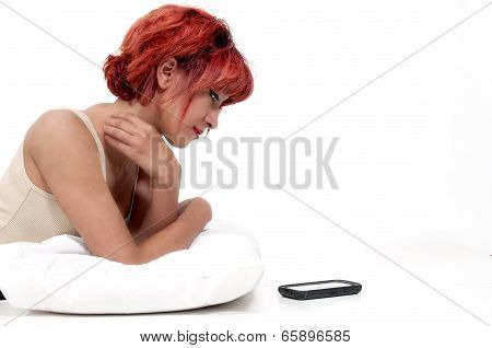Woman Waiting On Phone