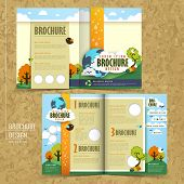 half fold template of brochure design with the concept of environmental poster