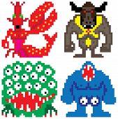 worse nightmare terrifying monsters retro computer eight bit pixel art poster