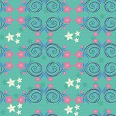 Turquoise pattern with pink flowers. White flowers and purple swirls. poster