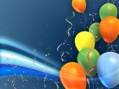 Happy and colorful party composition. Suitable for cards invitations and backgrounds. Digital illustration. poster