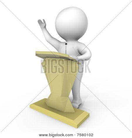 A human behind a podium - a 3d image