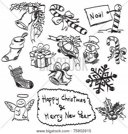 Hand Drawn Of Christmas Set