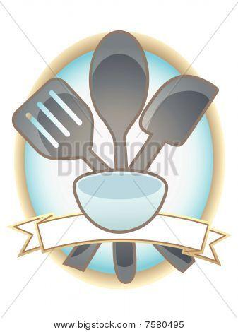 Baking Utensils Oval Blank Banner