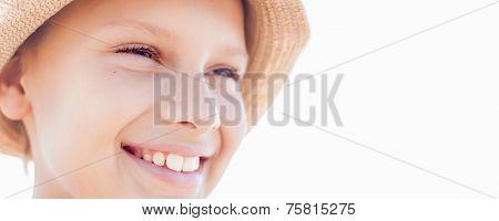 Bunner Summer Vacation Happy Child Boy Smile Straw Hat Backlight