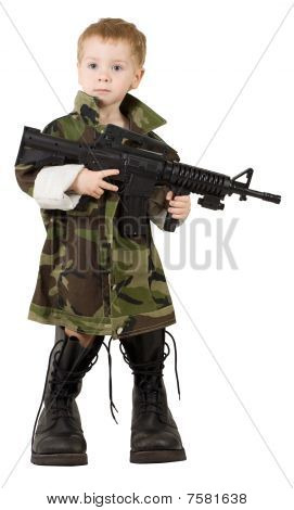 Child Soldier Boy, Little Kid Gun in Army Camouflage Military Boots, on White