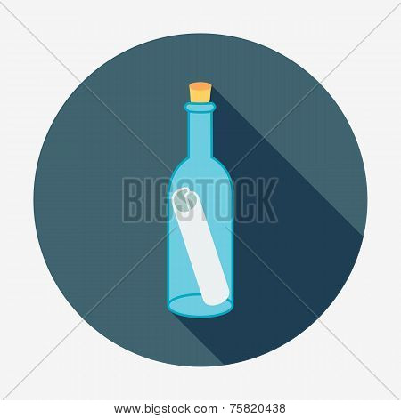 Pirate or sea icon, bottle mail. Flat design style modern vector illustration.