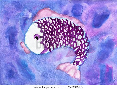 Child's Drawing Of Purple Fish, Watercolor