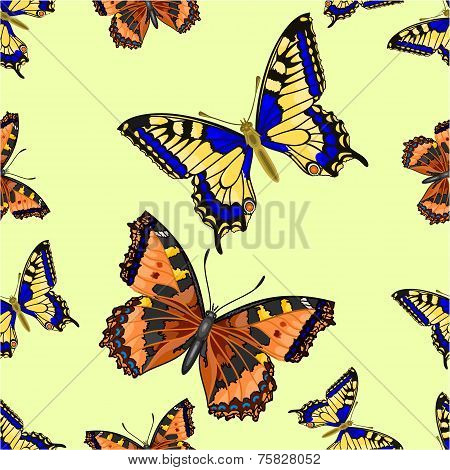Seamless Texture Two Butterfly Vector