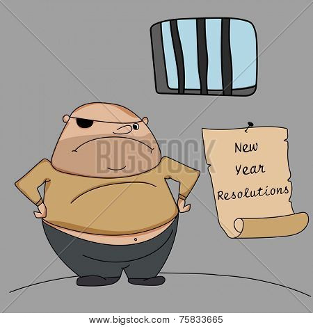 Happy New Year kiddish greeting design with young criminal in jail and hanging resolution list on grey background.