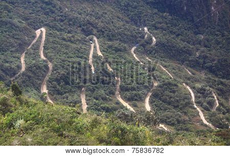 Steep winding road leading up to Machu Picchu from Aguas Calientes