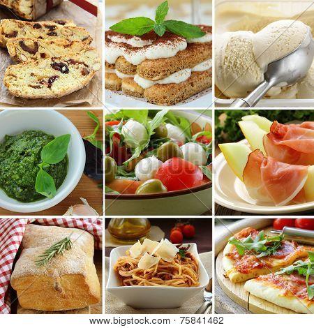 collage menu Italian food pyramid (desserts, salads, pizza and pasta)