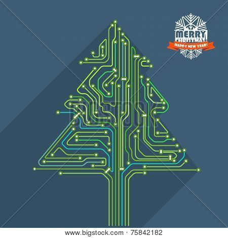 Abstract christmas tree metro scheme illustration. Greeting card poster