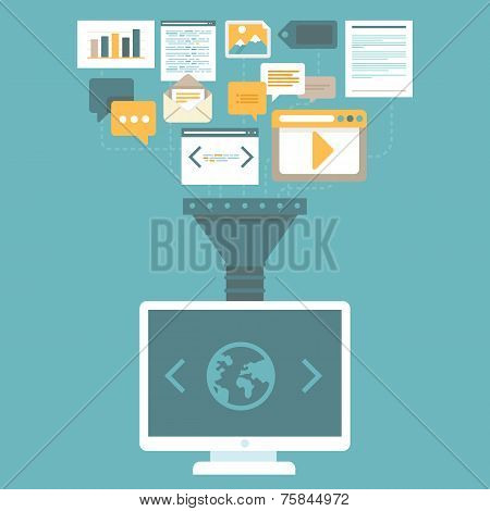 Vector Digital Marketing Concept In Flat Style
