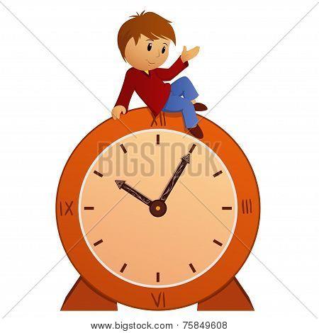 Cartoon Little Boy On Vintage Clock
