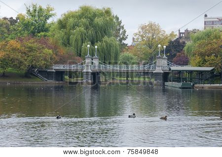 Lagoon Bridge At The Boston Public Gardens In Boston, Massachusetts.