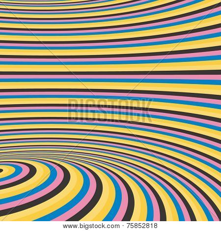 Pattern with optical illusion. Abstract background. Optical art. 3d vector illustration.