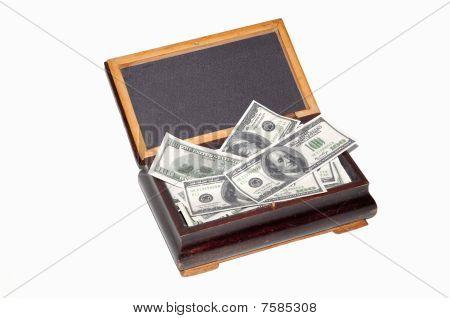 Old box full of dollars