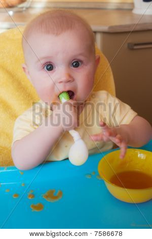 The Baby Of 7-8 Months Himself Holds The Spoon