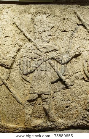 poster of ANKARA TURKEY - MAY 21 2014 - Detail soldier carrying spear from Kargama about 800 BCE Ankara Turkey