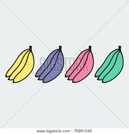 set of hand-drawn banana - illustration on the theme of the summer and autumn
