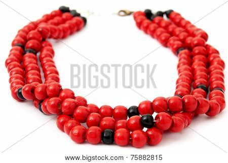 Red with Black Beaded Necklace, Isolated on White Background