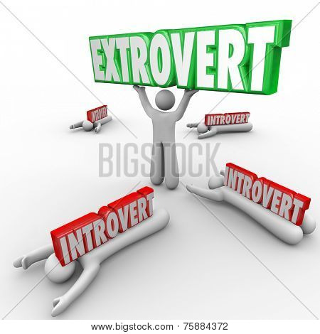 Extrovert vs Introverted people with outgoing character holding a word in triumph and shy people crushed by the 3d letters
