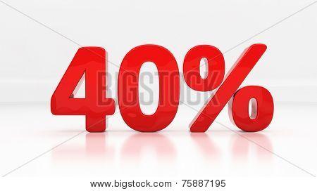 Forty percent off. Discount 40.  Percentage. 3D illustration