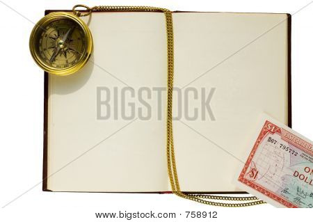 Old blank book with compass and chain, and caribbean dollar