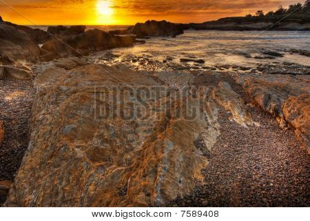 Glowing Beach At Sunset