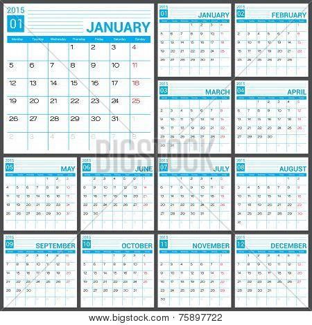 Calendar 2015 Vector Desing Template