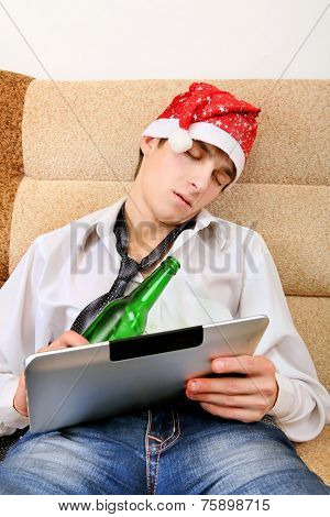 Teenager Sleeping With A Beer And Tablet