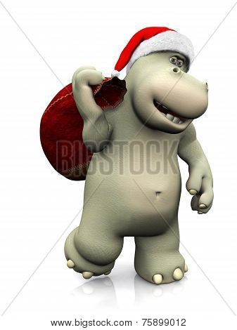 A smiling cartoon hippo carrying a santa bag. White background. poster