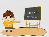 Little cartoon boy pointing blackboard for welcome of coming year 2015, Happy New Year greeting card design. poster