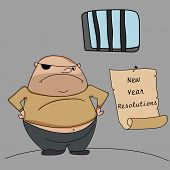 Happy New Year kiddish greeting design with young criminal in jail and hanging resolution list on grey background. poster
